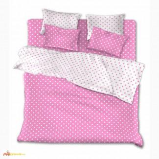 Комплекты постельного белья недорого Розовые горохи