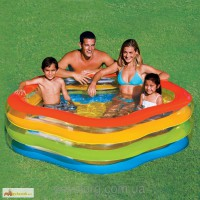 Семейный надувной бассейн звезда с надувным дном интекс Intex 185х180х53см