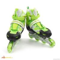Роликовые коньки детские раздвижные BEST PU 27-31 зелёные. Перестановка колес, светящиеся
