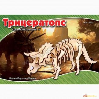 Динозавр Трицератопс 3д пазлы-конструктор из дерева на пластинах лазерная резка
