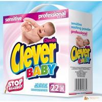 Бесфосфатный концентрированный стиральный порошок CLEVER BABY sensitive PROFESSIONAL