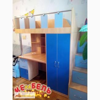 Кровать-чердак с рабочей зоной, шкафом (кл1) Merabel
