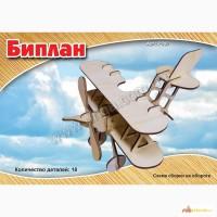 Самолёт Биплан 3д пазлы-конструктор из дерева на пластинах лазерная резка