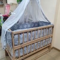Полный набор для сна! Новый! Кровать маятник, матрас кокос, постель с защитой и балдахином