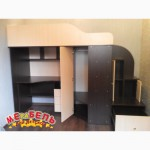 Кровать-чердак с рабочей зоной, угловым шкафом и лестницей-тумбой (кт2) Merabel