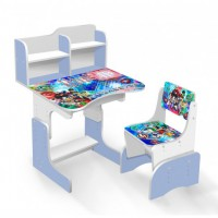 Парта школьная Бейблэйд ЛДСП ПШ 037 (69*45 см), цвет бело-голубой + 1 стул