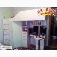 Кровать-чердак с рабочей зоной и угловым шкафом (к3) Merabel