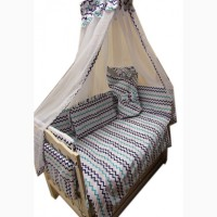 Акция! Набор в кроватку: Комплект постельного 8 элементов + матрас КПК 7 см + держа