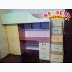 Кровать-чердак с рабочей зоной, шкафом и лестницей-комодом Merabel