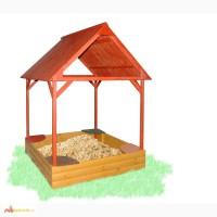 Песочница с деревянным навесом цветная 150х150см