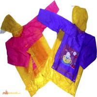 Детские виниловые дождевики с картинками и местом под рюкзак