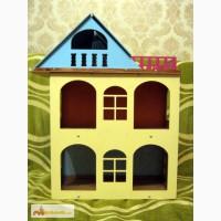 Желтый разборной домик для куколок до 18 см. Красивый домик для кукол