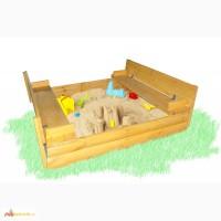 Песочница из доски блок-хаус с крышкой