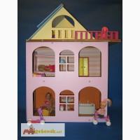 Разборной розовый кукольный домик для куколок до 18 см