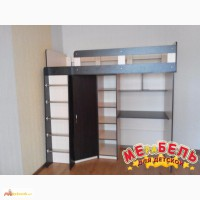 Кровать-чердак с рабочей зоной, угловым шкафом и полками (к7) Merabel