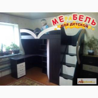Кровать-чердак с рабочей зоной, угловым шкафом и лестницей-комодом (кл10) Merabel