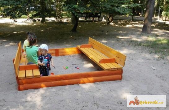 Фото 2. Песочницы детские деревянные 200см с крышкой Kindergray