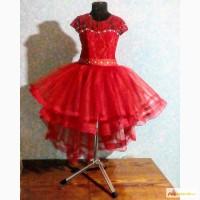 Нарядное детское платье пышное выпускное выпускной с шлейфом для выпускного красное